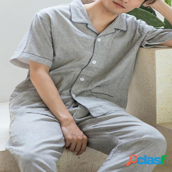 Uomo pure color soft set pigiama in cotone set da salotto manica corta per uomo