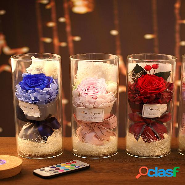 Rainbow rose night light san valentino regalo decorazione romantica luce essiccata fiore eterno fiore