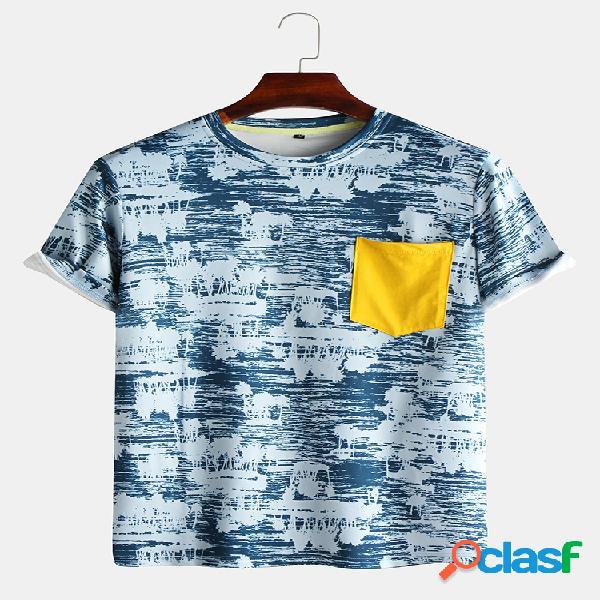 T-shirt manica corta uomo tinta unita in cotone tinta unita collo