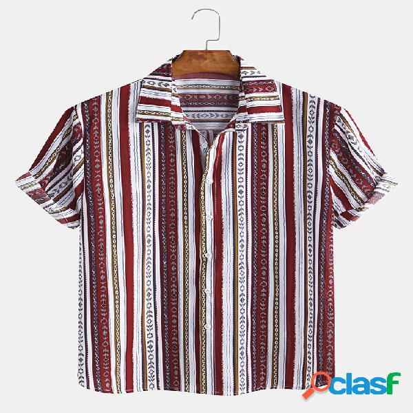 Manica corta da uomo con stampa etnica a righe vintage camicia