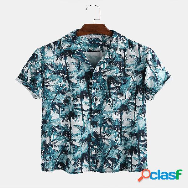 Manica corta stampata da uomo tropicale e traspirante da uomo tropicale da cocco camicia