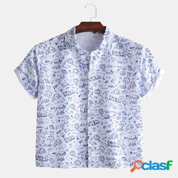 Manica corta da uomo fun school print graffiti style camicia