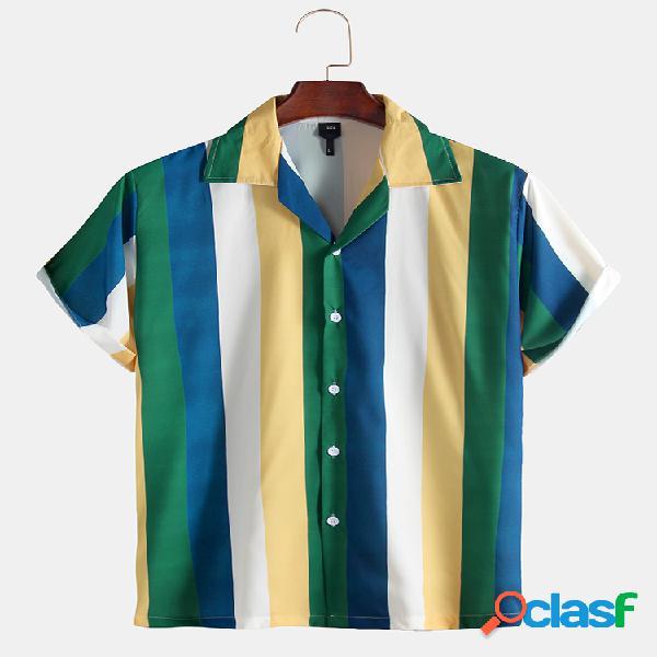 Uomo manica corta casual a righe verde lime camicia