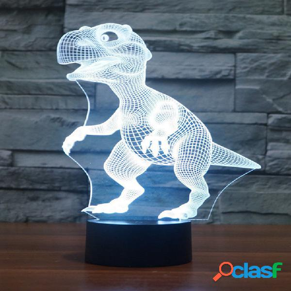 Dinosaur 3d led illusion night light 7 cambia colore touch switch table desk lampada