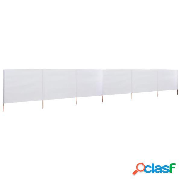 Vidaxl paravento a 6 pannelli in tessuto 800x80cm bianco