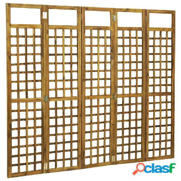 Vidaxl divisorio a 5 pannelli in legno massello di acacia 200x170cm
