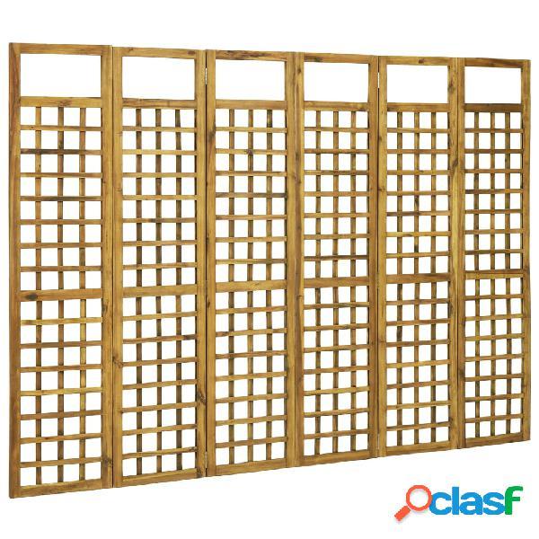 Vidaxl divisorio a 6 pannelli in legno massello di acacia 240x170 cm