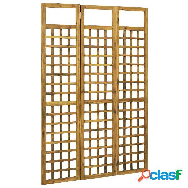 Vidaxl divisorio a 3 pannelli in legno massello di acacia 120x170 cm