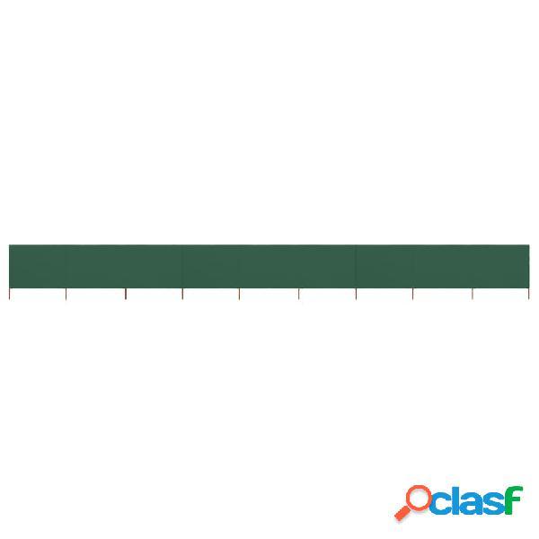 Vidaxl paravento a 9 pannelli in tessuto 1200x80 cm verde