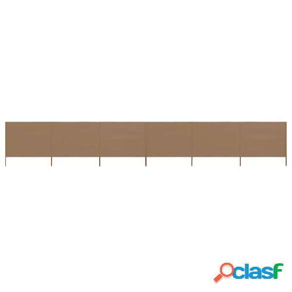 Vidaxl paravento a 6 pannelli in tessuto 800x120 cm grigio talpa