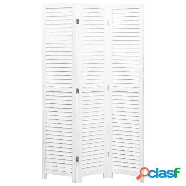 Vidaxl divisorio a 3 pannelli bianco 105x165 cm in legno