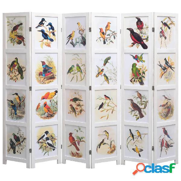 Vidaxl divisorio a 6 pannelli bianco 210x165 cm motivo uccelli