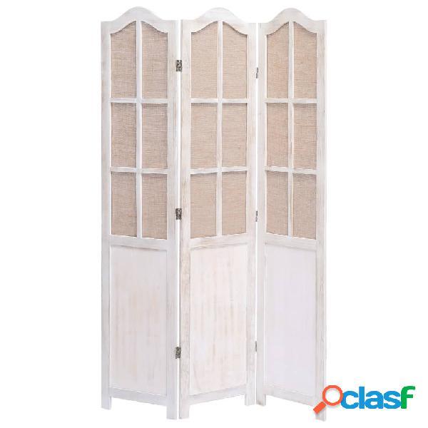 Vidaxl divisorio a 3 pannelli bianco 105x165 cm in tessuto