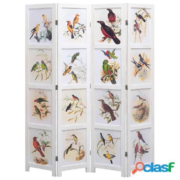 Vidaxl divisorio a 4 pannelli bianco 140x165 cm motivo uccelli