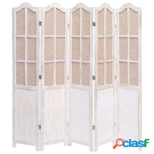 Vidaxl divisorio a 5 pannelli bianco 175x165 cm in tessuto