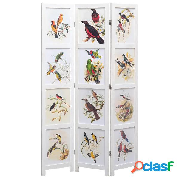 Vidaxl divisorio a 3 pannelli bianco 105x165 cm motivo uccelli