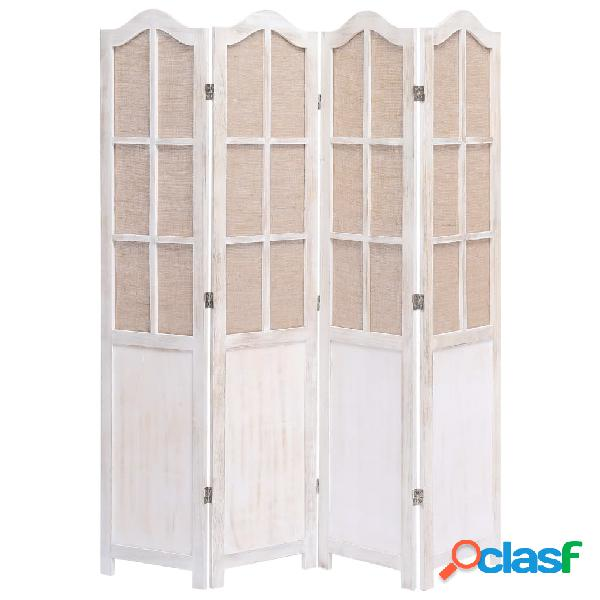 Vidaxl divisorio a 4 pannelli bianco 140x165 cm in tessuto