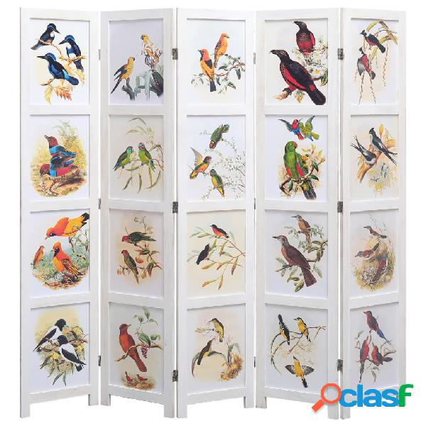 Vidaxl divisorio a 5 pannelli bianco 175x165 cm motivo uccelli