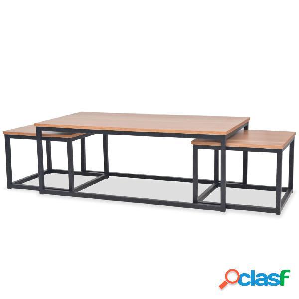 Vidaxl set tavolini da caffè 3 pz in legno di frassino