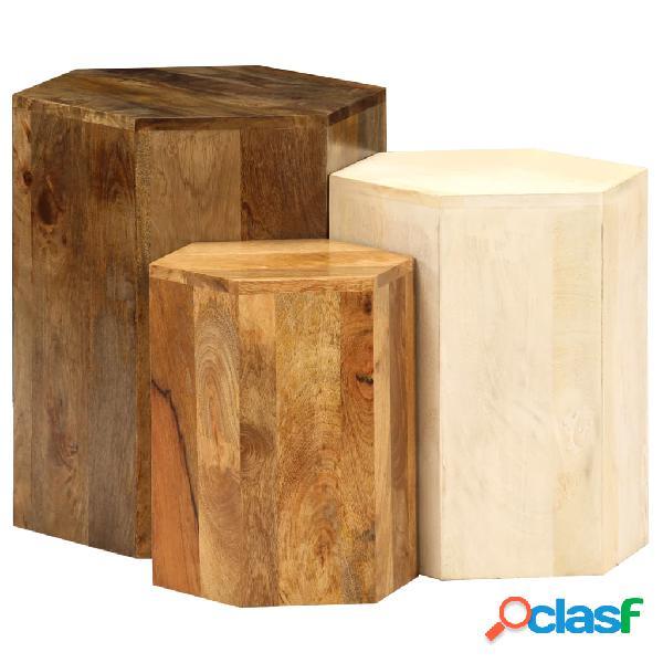 Vidaxl set tavolini da caffè 3 pz in legno massello di mango