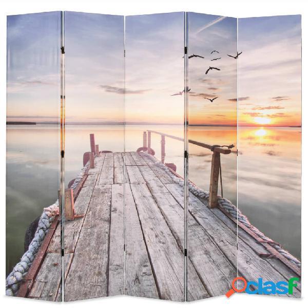 Vidaxl paravento pieghevole 200x170 cm stampa lago