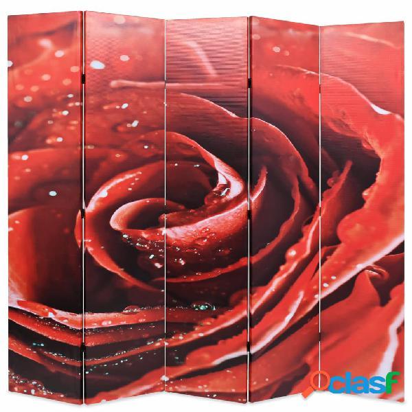 Vidaxl paravento pieghevole 200x170 cm stampa rosa rossa