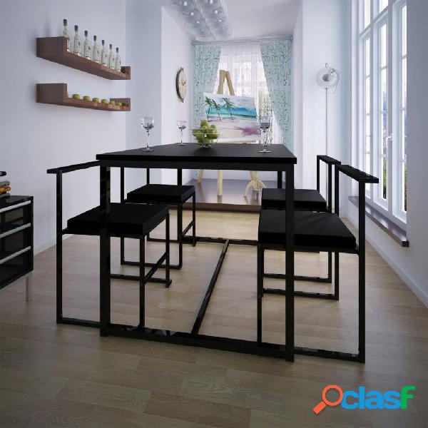 Vidaxl set tavolo e sedie pranzo 5 pz nero
