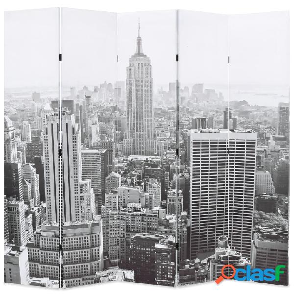 Vidaxl paravento pieghevole 200x170 cm stampa new york bianco e nero