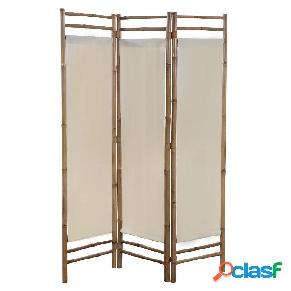 Vidaxl paravento pieghevole a 3 pannelli in bambù e tela 120 cm