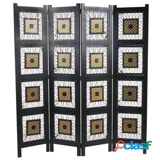 Paravento a 4 pannelli elin, 170x160x2cm, design ricercato, in legno