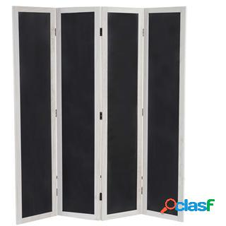 Paravento a 4 pannelli hilde, 155x137x2cm legno color bianco e lavagna