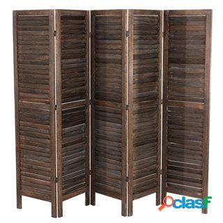 Paravento a 5 pannelli leo, cm 170x228x2, stile shabby chic in legno marrone