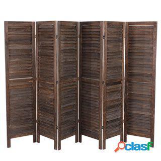 Paravento a 6 pannelli leo, cm 170x276x2, stile shabby chic in legno marrone