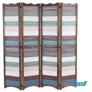 Paravento divisore harold, cm 170x160x2, struttura in legno marrone, pannelli colorati