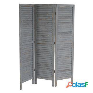 Paravento a 3 pannelli leo, cm 170x138x2, stile shabby chic in legno grigio