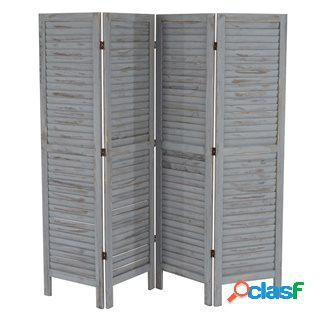 Paravento a 4 pannelli leo, cm 170x182x2, stile shabby chic in legno grigio
