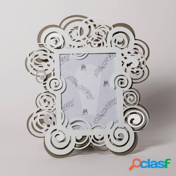 Porta foto particolare orfeo in metallo, dimensione 34x30 - per foto 15x20h, colore sabbia bianco