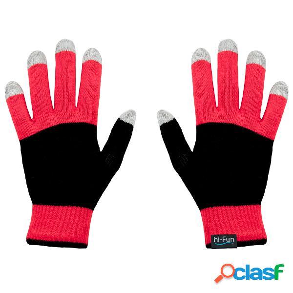 Guanti caldi donna per utilizzare per smarthphone tablet touch screen senza mai sfilarli con tessuto conduttivo sui polpastrelli colore rosso