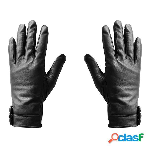 Guanto touchscreen in pelle medium donna per smarthphone tablet touch screen senza mai sfilarli vera pelle colore nero