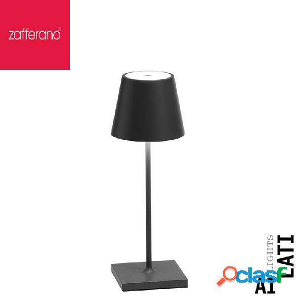 Zafferano poldina grigio scuro cm 30 lampada da tavolo ricaricabile