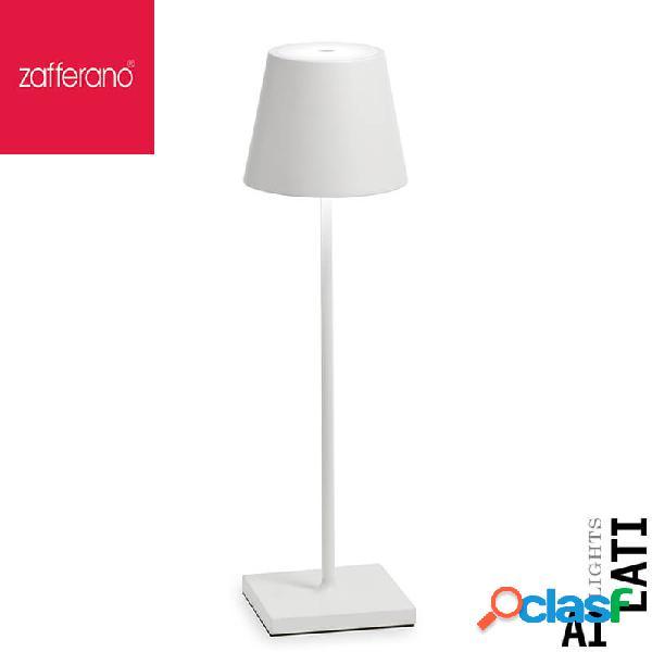 Zafferano poldina bianca cm 38 lampada da tavolo ricaricabile