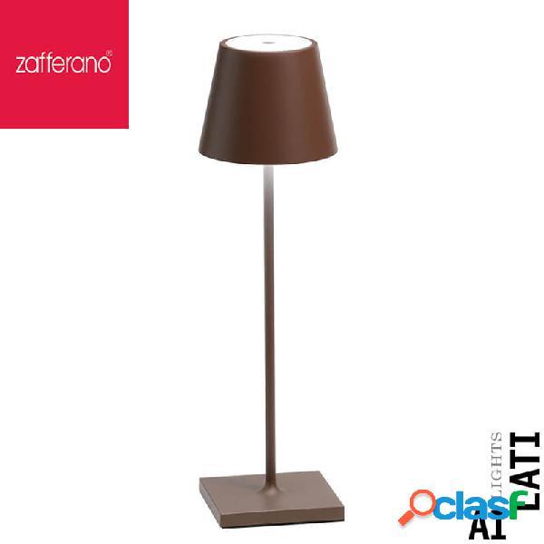 Zafferano poldina corten cm 38 lampada da tavolo ricaricabile