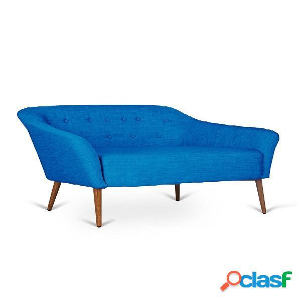 Divanetto moderno 2 posti in tessuto blu capitonè