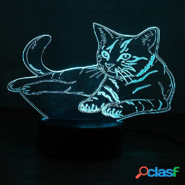 3d animal cat night light 7 cambia colore led lampada da tavolo house decor xmas toy