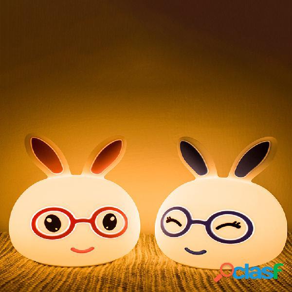 Cartoon rabbit night light touch cambia colore usb ricarica led lampada camera da letto home decor