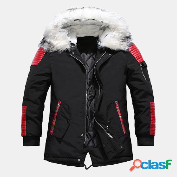 Cappotti invernali con cappuccio in pelliccia da uomo addensare piumini caldi parka sportivi