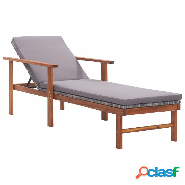 Vidaxl sdraio con cuscino polyrattan e legno massello di acacia grigia