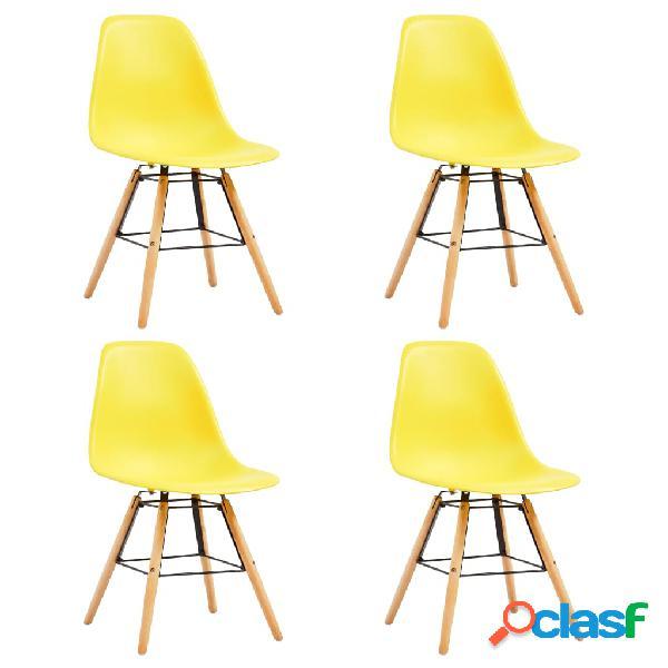 Vidaxl sedie da pranzo 4 pz gialle in plastica