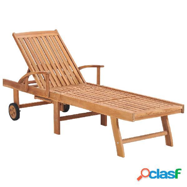 Vidaxl lettino prendisole in legno massello di teak