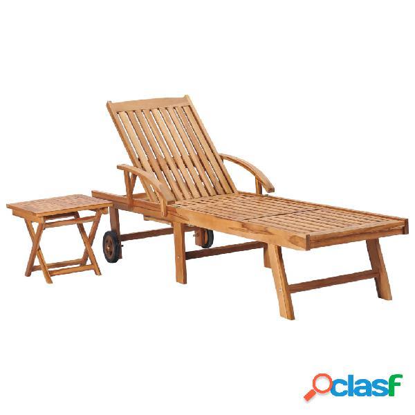 Vidaxl lettino prendisole con tavolo in legno massello di teak